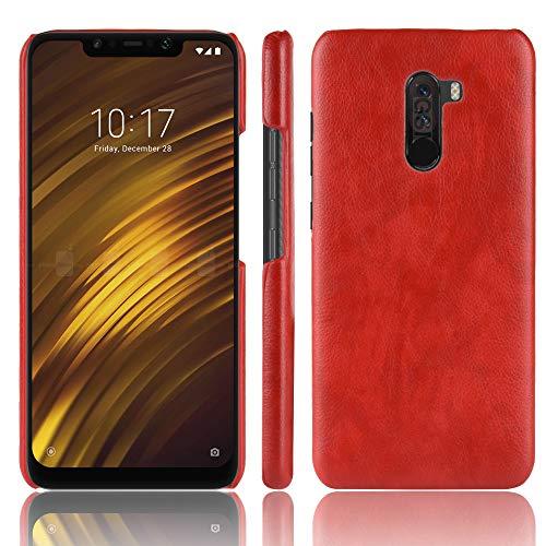 SPAK Xiaomi Pocophone F1 Custodia,Pelle PU Caso Duro Della Copertura del per Xiaomi Pocophone F1 (Rosso)