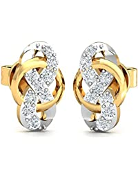 Stylori 18k Two Colour Gold and Diamond Ewrie Stud Earrings
