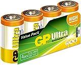 GP Batteries Ultra Alkaline D Batteries Pack of 4| Superb operating time | 13AU | 1.5V | LR20 | MX1300 | X95...