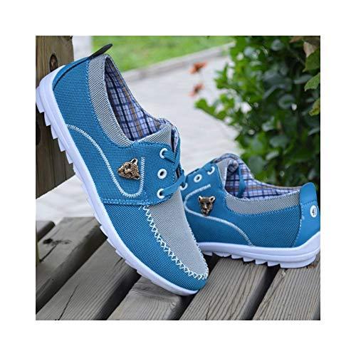 8HAOWENJU Scarpe di Tela, Scarpe da Uomo Traspiranti, Fondo Morbido, Scarpe Sportive Casual, Nere (Color : Light Blue, Size : 41 Yards)