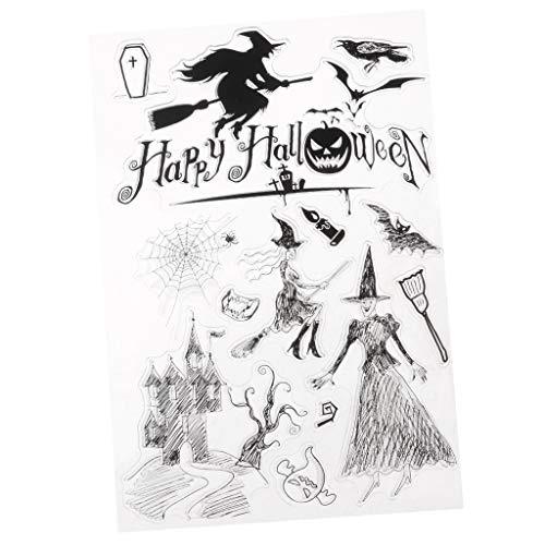 Homyl Klare Buchstaben Silikonstempel Silikon Stempel Fotoalbum Für DIY Feiertagskarten, Fotoalbum Scrapbooking - klar, Halloween -
