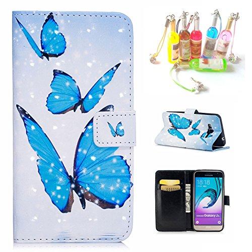 Per iPhone 6S Custodia, CaseMa-EU Portafoglio borsa in Pelle PU Caso Flip Case Cover per Apple iPhone 6 6S 4.7 inch (Fenicotteri XS) con un Colore Casuale Spina Polvere Farfalle blu XS