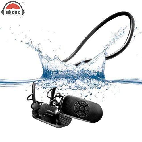 OKCSC Conduction osseuse lecteur MP3 étanche IPX8 lecteur MP3 étanche 8 Go protéger le Tympan de Conduction osseuse casque pour course à pied Natation Surf/plongée avec tuba