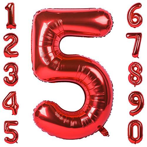 CHANGZHONG 40-Zoll 0-9 in Rot Nummer Foil Ballons Helium Zahlenballon Luftballon Riesenzahl Party Hochzeit Kindergeburtstag Geburtstag (Nummer 5)