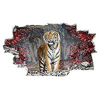 A272 Tiger Lion Safari Animal Zoo Red Rocks Wall Decal Poster 3D Art Stickers Kids Bedroom Baby Nursery Cool Livingroom Hall Boys Girls (Medium (52x30cm))