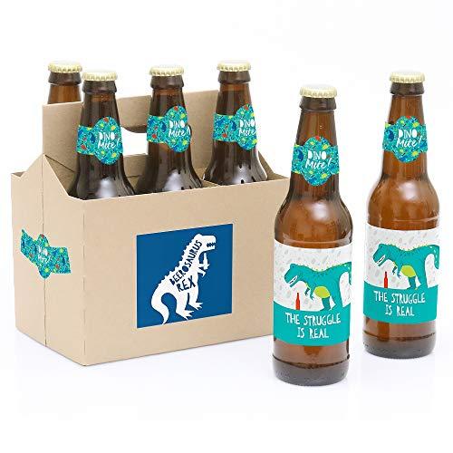 Roar Dinosaurier - Dino Milbe T-Rex Party Dekoration für Damen und Herren, 6 Bierflaschen Aufkleber und 1 Träger