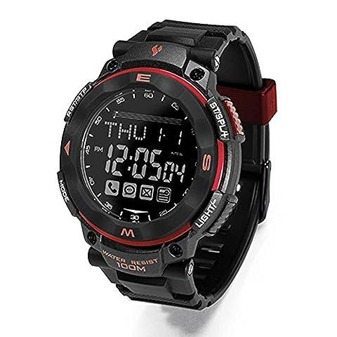 Joyeer Smart Watch Fitness Tracker SOS Rappel du message d'appel Podomètre Wristband Remote Camera Task Alert Alarm Clock Imperméable Anti-Lost Smartband , red