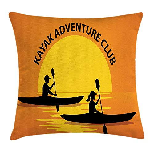 KENETOINA Kayak Throw Pillow Cushion Cover, Man Woman Silhouette in Kayaks at Sunset Outdoors Adventure Illustration, Decorative Square Accent Pillow Case, 18 X 18 Inches, Black Yellow Orange
