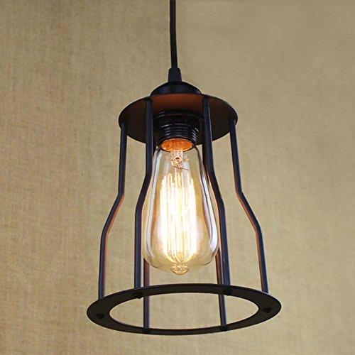 Hines Industrielle Retro Vintage Style Einfache Lattenrost Schutz Käfig Pendelleuchte Lampe Einstellbare Hängeleuchte verwenden E27 Lampe 1 Licht, schwarz