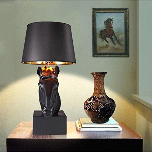 Tischlampe Pferd Lampe Kolonialstil Tischleuchte Pferdekopf Leuchte Kreative Persönlichkeit Nachttischlampe Lesen Schlafzimmer Wohnkultur [Effizienzklasse : A +]