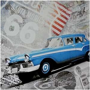 New York -Grand Tableau Toile USA Vintage Route 66 Voiture Retro Coca Cola Drapeau Amérique
