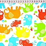 Elefant Orange Bunt 100% Baumwolle Baumwollstoff Kinder