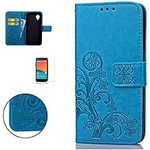 CaseHome LG Google Nexus 5 Wallet Funda,En Relieve Carcasa PU Leather Cuero Suave Impresión Cover Con Flip Case TPU Gel Silicona,Cierre Magnético,Función De Soporte,Billetera Con Tapa Libro Tarjetas Para Estilo Del Libro Estuche Del Protector Para LG Google Nexus 5-Azul