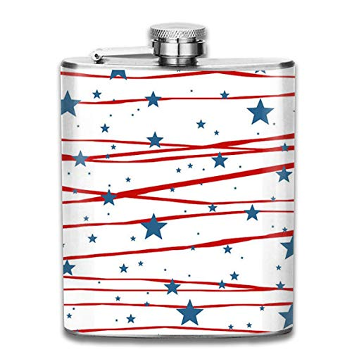 Presock Flachmann,Stars and Stripes 7 Oz Printed Stainless Steel Hip Flask for Drinking Liquor E.g. Whiskey, Rum, Scotch, Vodka Rust Great Gift