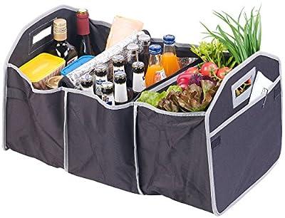 Lescars Kofferraumtasche: 2in1-Kofferraum-Organizer mit 3 Fächern und Kühltasche, Faltbar (Autotaschen)