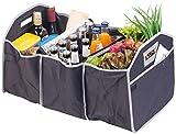 Lescars Kofferraumtasche: 2in1-Kofferraum-Organizer mit 3 Fächern und Kühltasche, faltbar (Faltbare Kofferraumtasche)