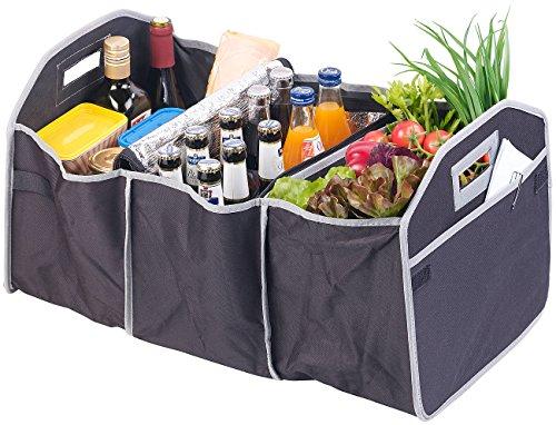 Lescars Kofferraumtasche: 2in1-Kofferraum-Organizer mit 3 Fächern und Kühltasche, faltbar (Faltbare Kofferraumtasche) -