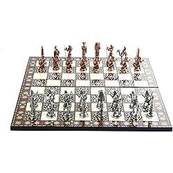 GiftHome - Juego de ajedrez de Cobre Antiguo Egipcio para Adultos, Piezas Hechas a Mano y diseño de Mosaico, Tablero de ajedrez de Madera, King 3.4 Pulgadas