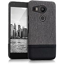 kwmobile Funda rígida de lona para LG Google Nexus 5X con detalles en piel sintética - funda trasera protectora en gris negro