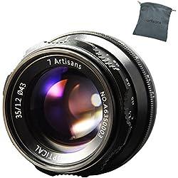 7artisans Objectif 35mm F1.2 à Mise au Point Manuelle APS-C pour Les appareils Photo sans Miroir compacts Fuji X-A10 X-A2 X-A3 A-at X-M1 XM2 X-T10 X-T2 X-T20 X- Pro1 X-Pro2 X-E1 X-E2 E-E2s X-E3