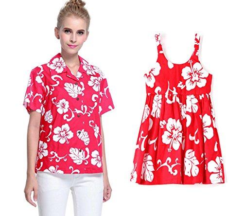 Conjunto-de-Luau-hawaiano-a-juego-con-la-hija-de-la-madre-Seora-Camisa-Vestido-de-nia-PW-Rojo-Hibisco-L-4