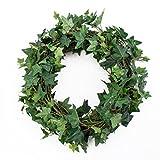 Deko Weidenkranz mit Efeu, grün, Ø 35 cm - künstlicher Kranz / Türkranz / Tischkranz - artplants