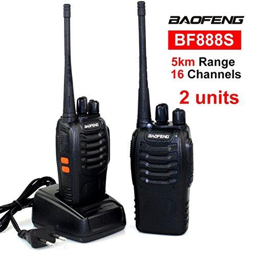 Paar Radio walkies-talkie Boafeng 888S 16CH UHF 400–470MZH Batterie/Akku und Haken (2Stk)