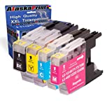 Premium 4er Set Druckerpatronen Kompatibel für Brother LC-1240 / LC-1220 / LC-1280 XL für DCPJ525W MFCJ430W MFC-J5910DW DCP J925DW MFC-J825DW MFCJ6510DW MFCJ835DW MFCJ625DW J725DW MFCJ6910DW MFC6710 Patronen (Schwarz , Cyan , Magenta , Gelb) 4xLC-1240-Brother