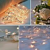LED Kupfer Lichterkette batteriebetrieben vikeepro warmweiß 6M 60 LEDs Kupferdraht Lichterketten mit Perlen für Innen Außen Party Weihnachten Dekolicht Hochzeit Wasserdicht IP44