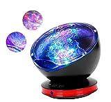 Lámpara Proyector, Proyector LED de Luz Océano con 45 Grados de Rotación y 8 Modos, Luz del Sueño con Reproductor de Música para Niños, Novia, Cumpleaños y Fiesta