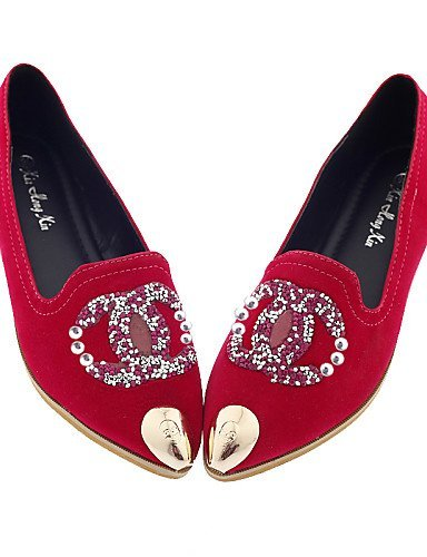 ShangYi gyht Scarpe Donna-Ballerine-Casual-A punta-Piatto-Finta pelle-Nero / Rosso Red