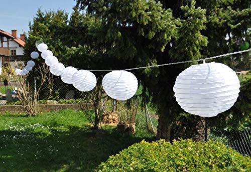 F-H-S International 20 XXL Lampion LED Partylichterkette 9,50m Warmweiße LEDs Garten Party Licht