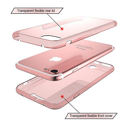 Custodia Cover iPhone 7 Plus,Ukayfe 360 Grad TPU Silicone Gomma Gel Custodia per iPhone 7 Plus UltraSlim Policarbonato in bellissimo di colore Copertura Cover Case Protettiva ,Moda Serie Completa Scre Oro rosa