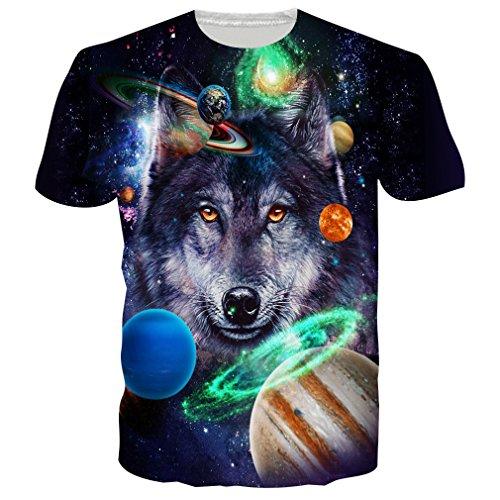 Loveternal Unisex Galaxy Wolf T-Shirt Realistische 3D Muster Gedruckt Casual Grafik Kurzarm Tops Tees M