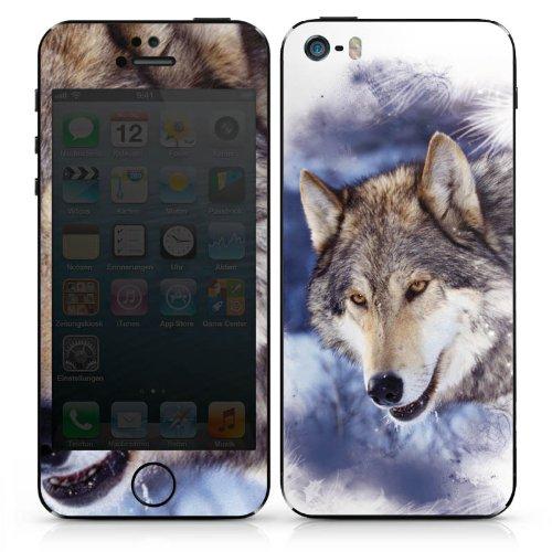 Apple iPhone 5 Case Skin Sticker aus Vinyl-Folie Aufkleber Schnee Wolf Hund DesignSkins® glänzend