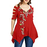 Overdose Mode Damen Sommer Schulterfrei Oberteile T Shirt Plus Size Blumendruck Bluse Casual Tops Camis
