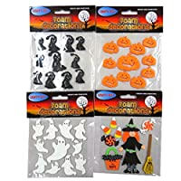 CRAFTY BITZ Halloween Foam Decoration Glitter Stickers - Pack of 4, Witch, Ghosts, Cats, Pumpkins and More