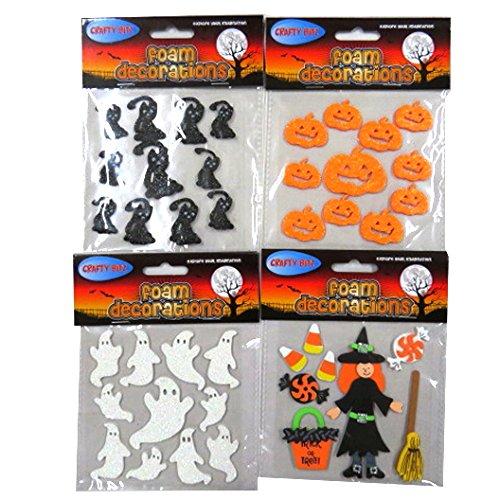 (Halloween-Schaum-Dekoration-Aufkleber - Satz von 4, Hexe, Geister, Katzen, Kürbise und mehr)