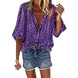OUICE Femme Col en V à Manches Longues Commercial Bouton Multicolore Blouse Automne Pas Cher T-Shirt