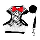 #6: MagiDeal Small Medium Pet Dog Cat Harness Adjustable Leash Lead Gentleman's Puppy Vest Harness - black white grid, As described