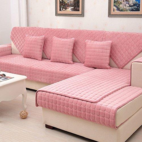 Imbottitura peluche,antiscivolo tinta unita divano slipcovers universale all-inclusive divano telo copre protettore mobili-rosa 110x235cm(43x93inch)
