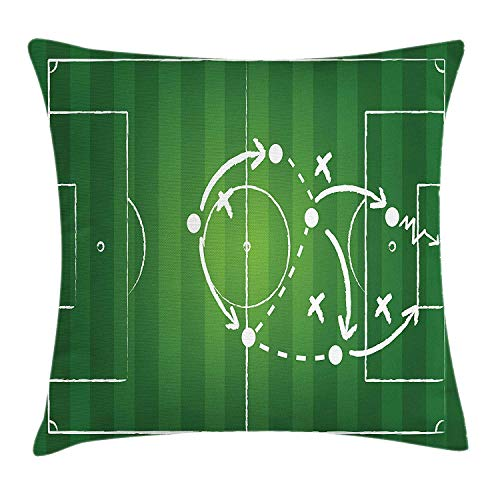 shizh Dekokissen Kissenbezug Spielstrategie Passieren Markieren Dribbeln in Richtung Ziel Gewinntaktik Gesamtfußball Decor Square Accent Pillow Case 45 x 45 cm