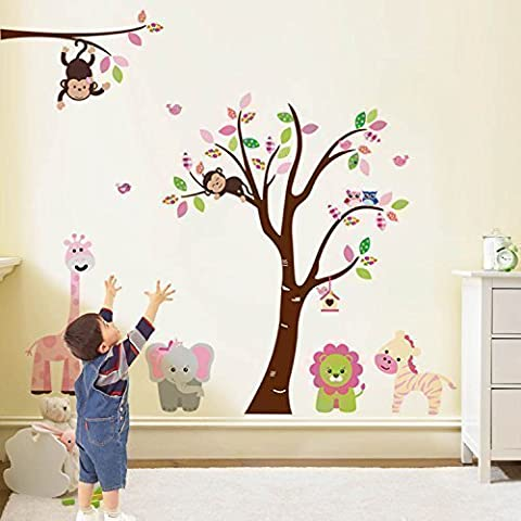 Walplus Wall Stickers Pink Giraffe Removable Self-Adhesive Mural Art Decals Vinyl Home Decoration DIY Living Bedroom Office Décor Wallpaper Kids Room Gift,