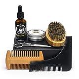 Barbe huile et peigne Set pour hommes Kit de toilettage barbe Contient moustache à l'huile de moustache et baume à barbe Cire de beurre Barbe Brosse Barbe peigne Sharp Ciseaux Coffret cadeau (6 pcs)