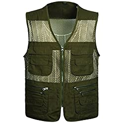 LU2000 Chaleco de malla transpirable de verano al aire libre de los hombres, chaqueta de chaleco de pesca con múltiples bolsillos Chaleco de camuflaje para el safari (4X-Grande)