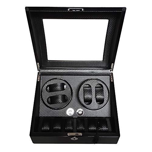 QWERTOUY Luxusuhr Lagerung & Display Uhrenbeweger Box schwarz glänzend Holzkiste Rotator 4 + 6 mechanische Uhren Bewegung