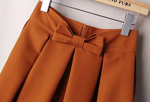 Uideazone Fashion Womens Sommer Midi gefaltete Röcke High Taille knielangen Rock Gelb