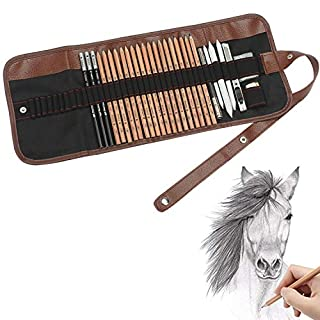 Soucolor 18PCS Sketching Pencil with 3 Charcoal Pencil 2 Eraser 3 Paper Pens 1 Pencil Sharpener 1 Pencil Extender and 1 Pencil Wrap Set Art Craft for Drawing Sketching,Artists Getting Started Young artist student or Any budding artists