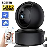 Surveillance Camera WiFi Sdeter 1080P Caméra IP sans Fil WiFi Accueil CCTV Camera Support Yi Cloud Pan/Tilt/Zoom Night Vision Baby Crying Alarm Baby Monitor Sombre
