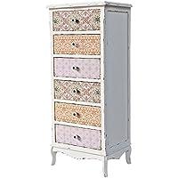 Comparador de precios Casa-Padrino Country Style Chest of Drawers Antique White/Multicolored 52 x 38 x H. 120 cm - Furniture in Shabby Chic Design - precios baratos